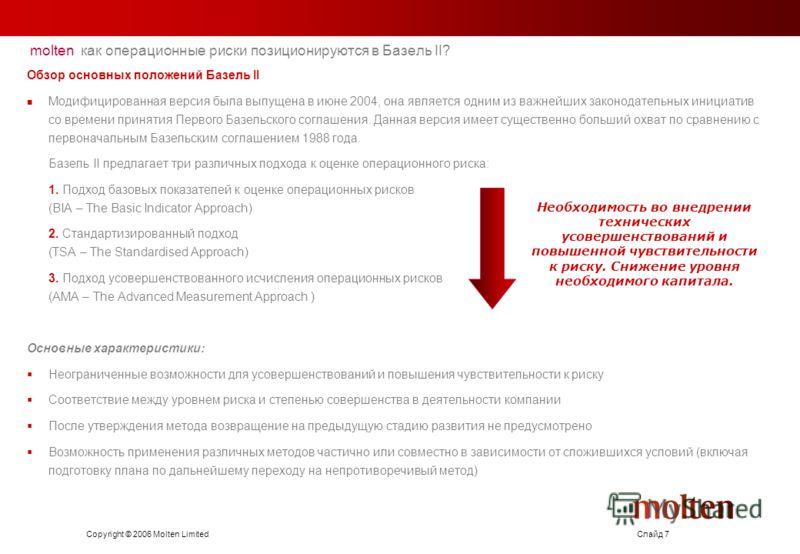 Copyright © 2006 Molten LimitedСлайд 7 molten как операционные риски позиционируются в Базель II? Обзор основных положений Базель II Модифицированная версия была выпущена в июне 2004, она является одним из важнейших законодательных инициатив со време