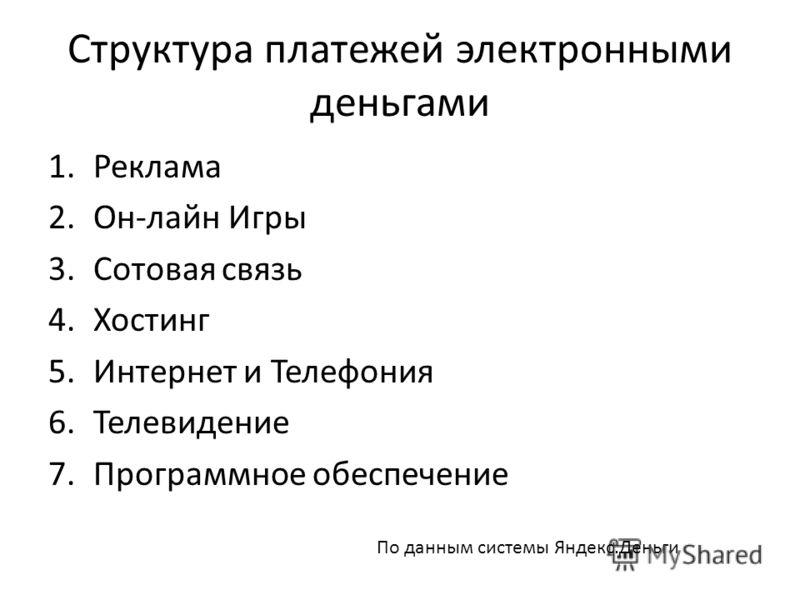 Структура платежей электронными деньгами 1.Реклама 2.Он-лайн Игры 3.Сотовая связь 4.Хостинг 5.Интернет и Телефония 6.Телевидение 7.Программное обеспечение По данным системы Яндекс.Деньги