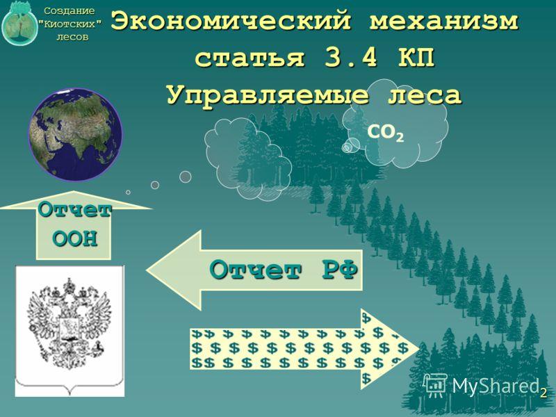 Создание Киотских лесов 2 СО 2 Экономический механизм статья 3.4 КП Управляемые леса Отчет РФ Отчет ООН