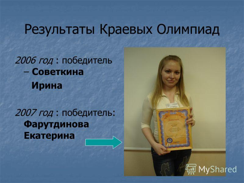 Результаты Краевых Олимпиад 2006 год : победитель – Советкина Ирина 2007 год : победитель: Фарутдинова Екатерина