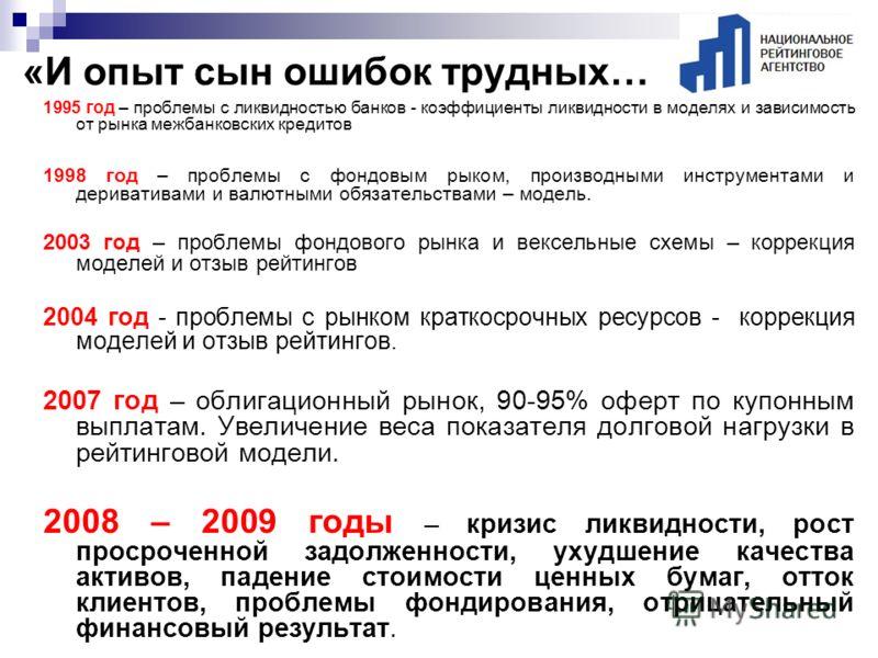 1995 год – проблемы с ликвидностью банков - коэффициенты ликвидности в моделях и зависимость от рынка межбанковских кредитов 1998 год – проблемы с фондовым рыком, производными инструментами и деривативами и валютными обязательствами – модель. 2003 го