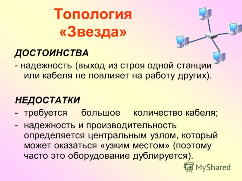 Топология «Звезда» ДОСТОИНСТВА - надежность (выход из строя одной станции или кабеля не повлияет на работу других). НЕДОСТАТКИ -требуется большое количество кабеля; -надежность и производительность определяется центральным узлом, который может оказат
