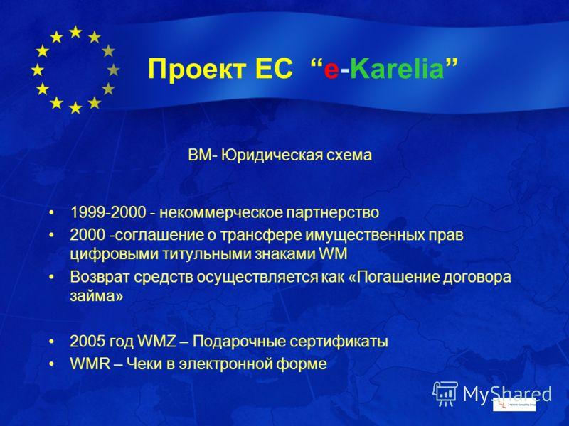 Проект ЕС e-Karelia ВМ- Юридическая схема 1999-2000 - некоммерческое партнерство 2000 -соглашение о трансфере имущественных прав цифровыми титульными знаками WM Возврат средств осуществляется как «Погашение договора займа» 2005 год WMZ – Подарочные с