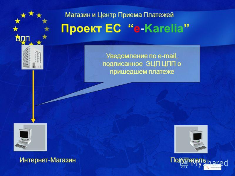 Проект ЕС e-Karelia Магазин и Центр Приема Платежей ЦПП Интернет-МагазинПокупатель Уведомление по e-mail, подписанное ЭЦП ЦПП о пришедшем платеже