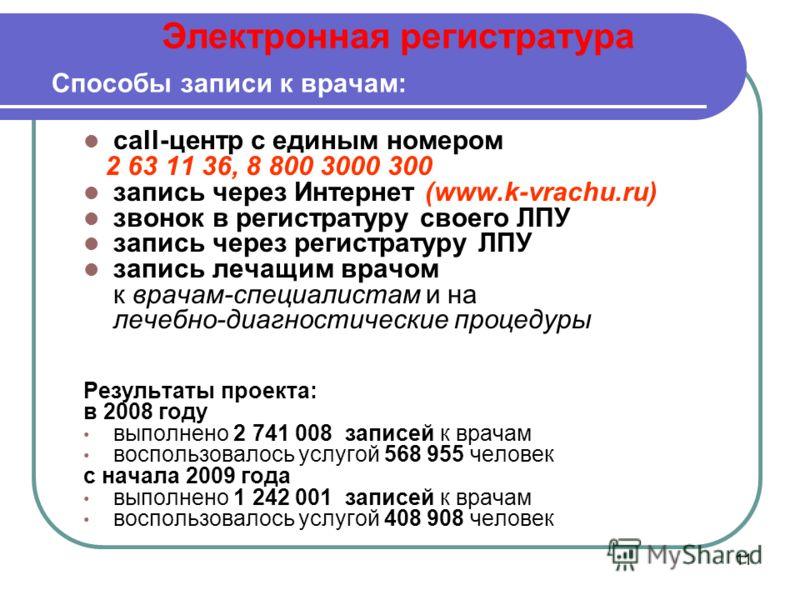 11 Способы записи к врачам: call-центр с единым номером 2 63 11 36, 8 800 3000 300 запись через Интернет (www.k-vrachu.ru) звонок в регистратуру своего ЛПУ запись через регистратуру ЛПУ запись лечащим врачом к врачам-специалистам и на лечебно-диагнос