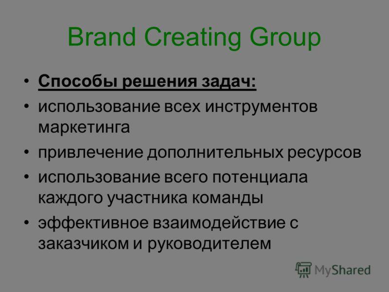 Brand Creating Group Способы решения задач: использование всех инструментов маркетинга привлечение дополнительных ресурсов использование всего потенциала каждого участника команды эффективное взаимодействие с заказчиком и руководителем