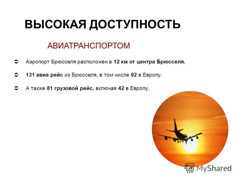 ВЫСОКАЯ ДОСТУПНОСТЬ АВИАТРАНСПОРТОМ Аэропорт Брюсселя расположен в 12 км от центра Брюсселя. 131 авиа рейс из Брюсселя, в том числе 92 в Европу. А также 81 грузовой рейс, включая 42 в Европу.