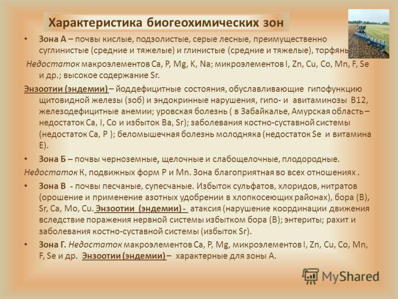 Характеристика биогеохимических зон Зона А – почвы кислые, подзолистые, серые лесные, преимущественно суглинистые (средние и тяжелые) и глинистые (средние и тяжелые), торфяные. Недостаток макроэлементов Ca, P, Mg, K, Na; микроэлементов I, Zn, Cu, Co,