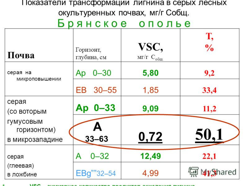 Почва Горизонт, глубина, см VSC, мг/г С общ. Т, % серая на микроповышении Ар 0–305,80 9,2 EB 30–551,85 33,4 серая (со воторым гумусовым горизонтом) в микрозападине Ар 0–33 9,09 11,2 А 33–63 0,72 50,1 серая (глеевая) в ложбине А 0–3212,49 22,1 EBg 32–