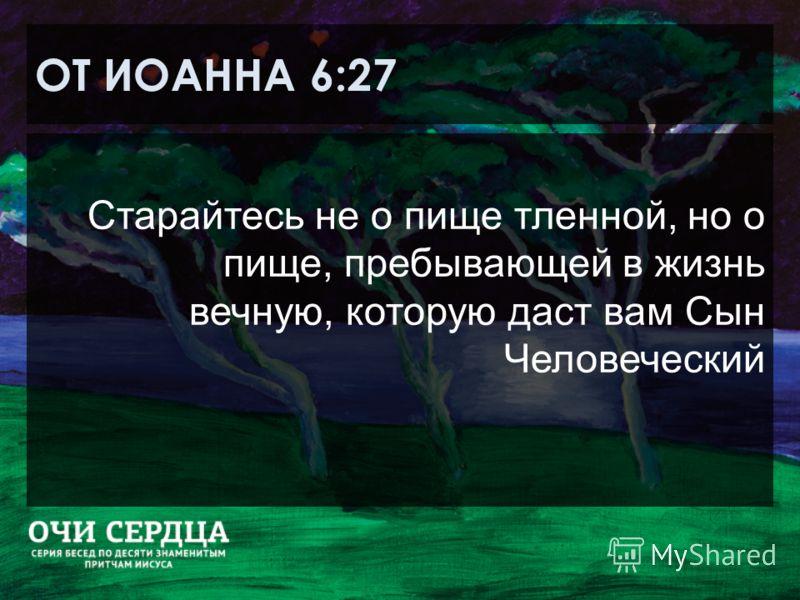ОТ ИОАННА 6:27 Старайтесь не о пище тленной, но о пище, пребывающей в жизнь вечную, которую даст вам Сын Человеческий