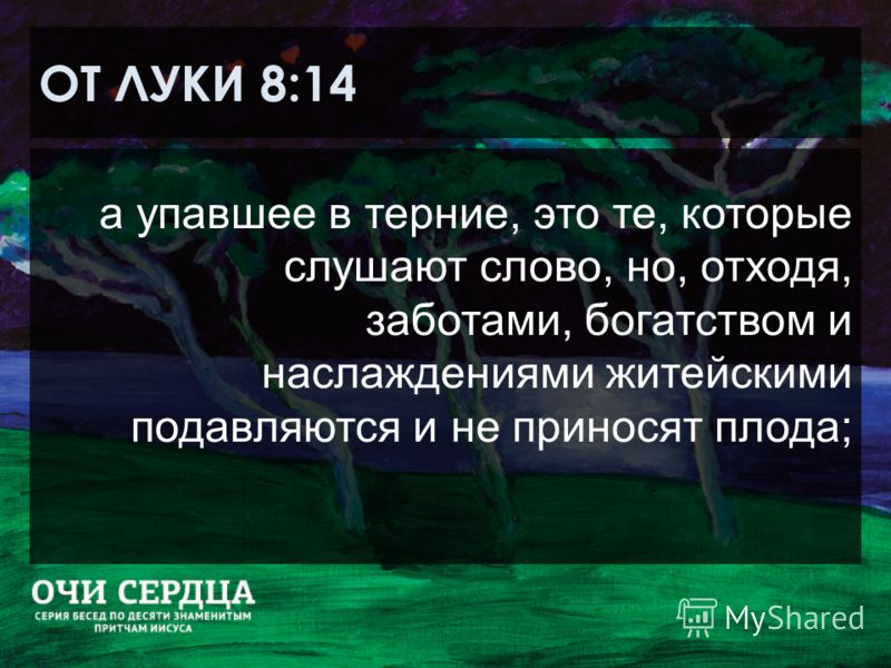 ОТ ЛУКИ 8:14 а упавшее в терние, это те, которые слушают слово, но, отходя, заботами, богатством и наслаждениями житейскими подавляются и не приносят плода;