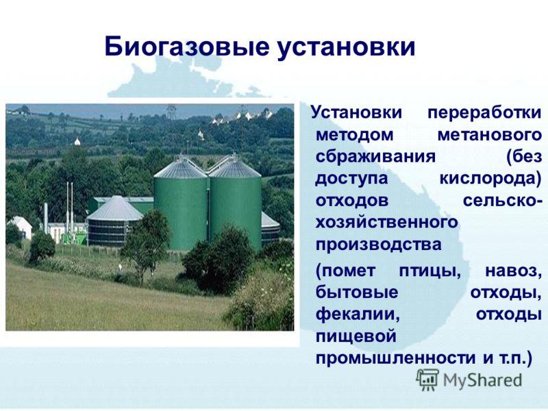 Биогазовые установки Установки переработки методом метанового сбраживания (без доступа кислорода) отходов сельско- хозяйственного производства (помет птицы, навоз, бытовые отходы, фекалии, отходы пищевой промышленности и т.п.)