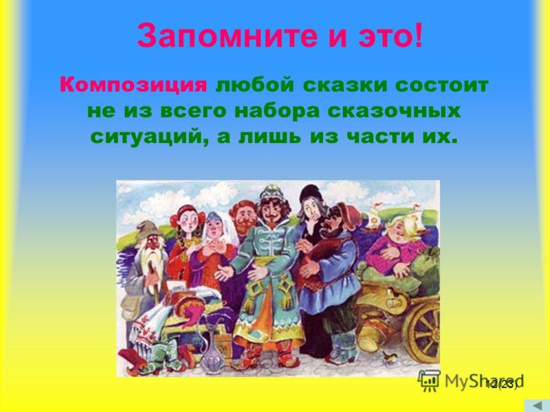 Запомните и это! Композиция любой сказки состоит не из всего набора сказочных ситуаций, а лишь из части их. 12(23)