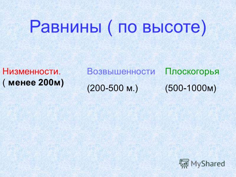 Низменности. ( менее 200м) Возвышенности (200-500 м.) Плоскогорья (500-1000м) Равнины ( по высоте)