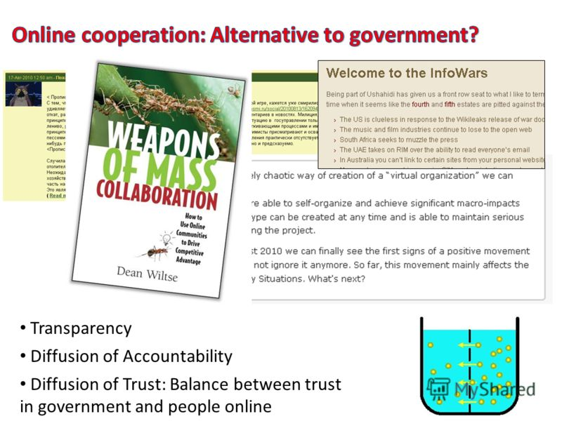 Diffusion of Trust: Balance between trust in government and people online Diffusion of Accountability Transparency