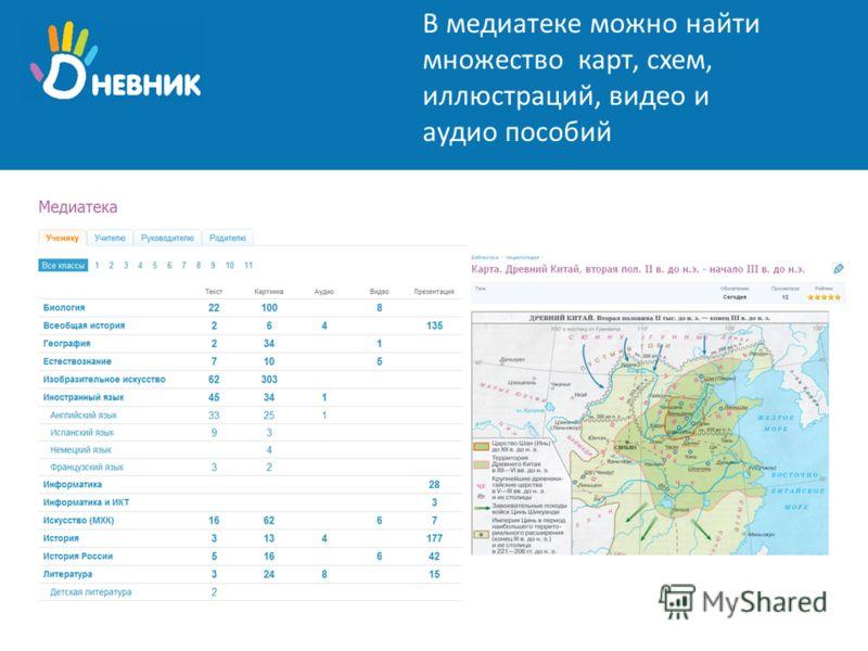 В медиатеке можно найти множество карт, схем, иллюстраций, видео и аудио пособий