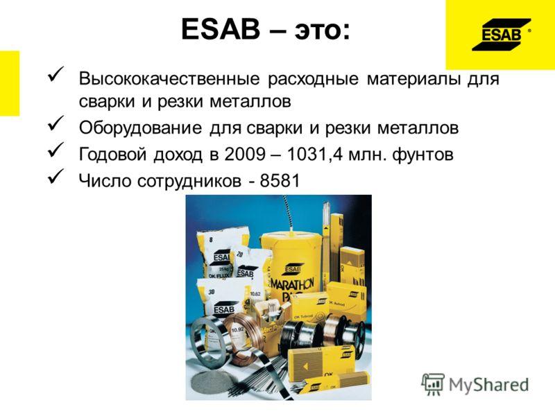 ESAB – это: Высококачественные расходные материалы для сварки и резки металлов Оборудование для сварки и резки металлов Годовой доход в 2009 – 1031,4 млн. фунтов Число сотрудников - 8581
