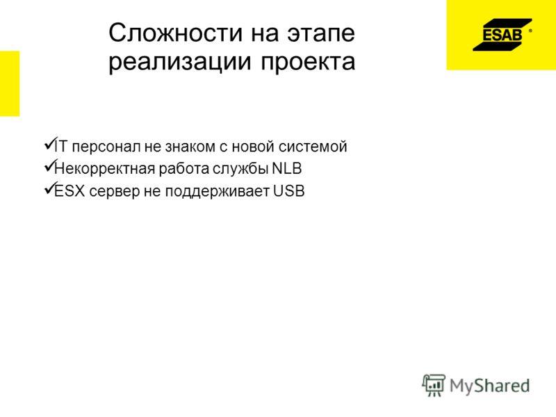 Сложности на этапе реализации проекта IT персонал не знаком с новой системой Некорректная работа службы NLB ESX сервер не поддерживает USB