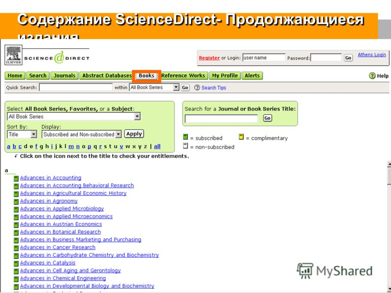 13 Содержание ScienceDirect- Продолжающиеся издания November Release Online tutorials, improved Help system Increased journal and book branding New navigation bar Searching by date includes BF access User interface change Facilitating books series, b