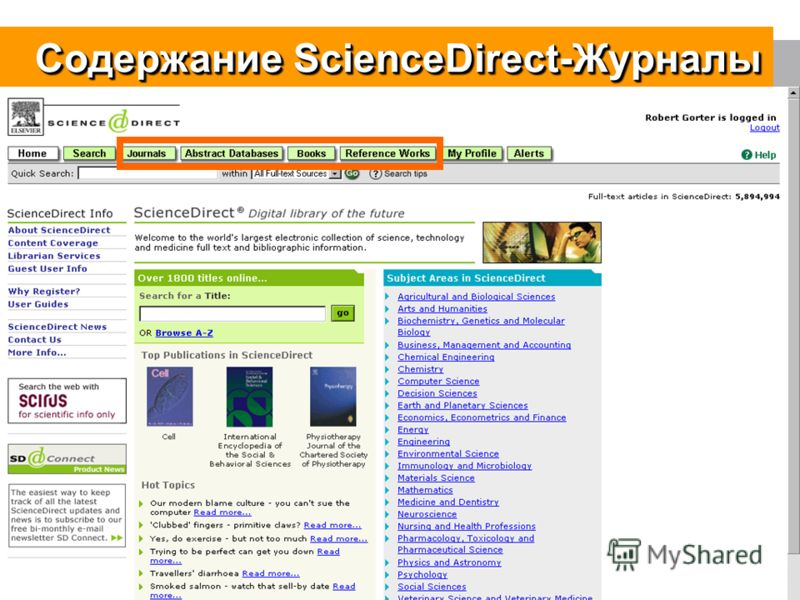 5 Содержание ScienceDirect-Журналы