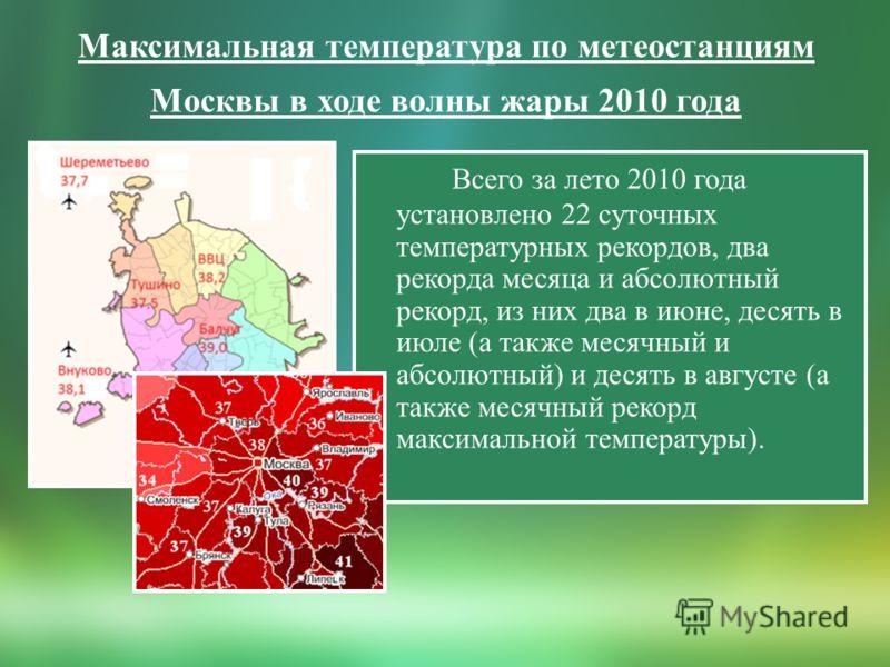 Максимальная температура по метеостанциям Москвы в ходе волны жары 2010 года Всего за лето 2010 года установлено 22 суточных температурных рекордов, два рекорда месяца и абсолютный рекорд, из них два в июне, десять в июле (а также месячный и абсолютн