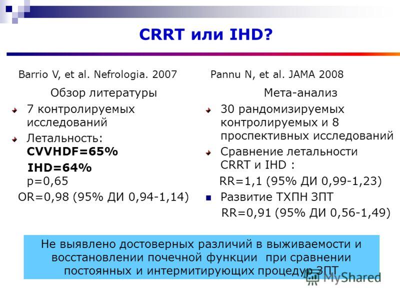 Обзор литературы 7 контролируемых исследований Летальность: CVVHDF=65% IHD=64% р=0,65 OR=0,98 (95% ДИ 0,94-1,14) CRRT или IHD? Barrio V, et al. Nefrologia. 2007 Не выявлено достоверных различий в выживаемости и восстановлении почечной функции при сра