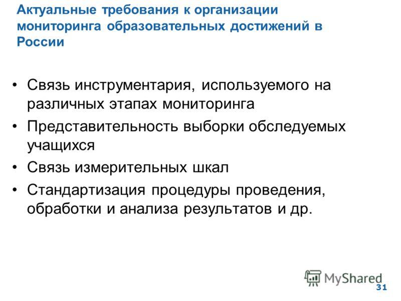 Актуальные требования к организации мониторинга образовательных достижений в России 31 Связь инструментария, используемого на различных этапах мониторинга Представительность выборки обследуемых учащихся Связь измерительных шкал Стандартизация процеду
