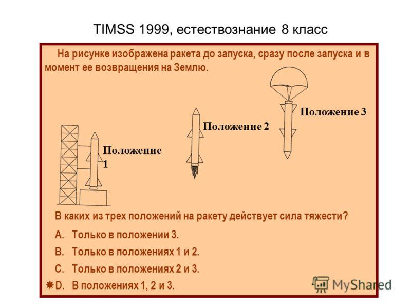 TIMSS 1999, естествознание 8 класс На рисунке изображена ракета до запуска, сразу после запуска и в момент ее возвращения на Землю. В каких из трех положений на ракету действует сила тяжести? А. Только в положении 3. В. Только в положениях 1 и 2. С.