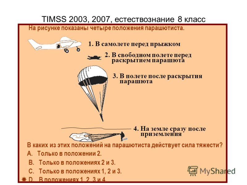 TIMSS 2003, 2007, естествознание 8 класс На рисунке показаны четыре положения парашютиста. В каких из этих положений на парашютиста действует сила тяжести? А. Только в положении 2. В. Только в положениях 2 и 3. С. Только в положениях 1, 2 и 3. D. В п