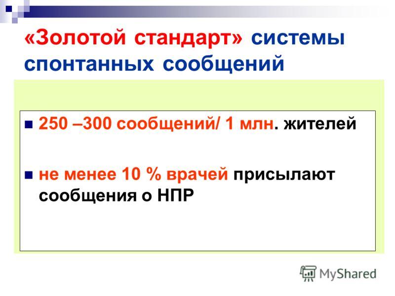 «Золотой стандарт» системы спонтанных сообщений 250 –300 сообщений/ 1 млн. жителей не менее 10 % врачей присылают сообщения о НПР