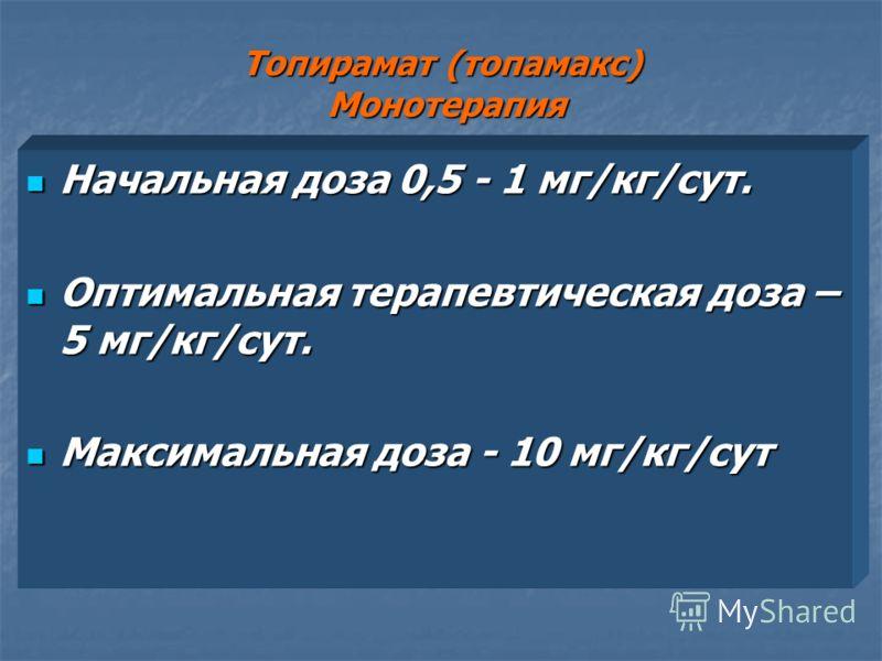Топирамат (топамакс) Монотерапия Начальная доза 0,5 - 1 мг/кг/сут. Начальная доза 0,5 - 1 мг/кг/сут. Оптимальная терапевтическая доза – 5 мг/кг/сут. Оптимальная терапевтическая доза – 5 мг/кг/сут. Максимальная доза - 10 мг/кг/сут Максимальная доза -