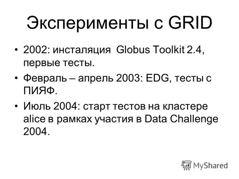 Эксперименты с GRID 2002: инсталяция Globus Toolkit 2.4, первые тесты. Февраль – апрель 2003: EDG, тесты с ПИЯФ. Июль 2004: старт тестов на кластере alice в рамках участия в Data Challenge 2004.