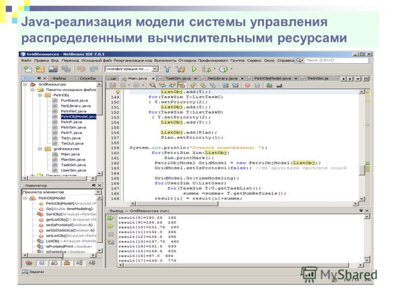 Java-реализация модели системы управления распределенными вычислительными ресурсами