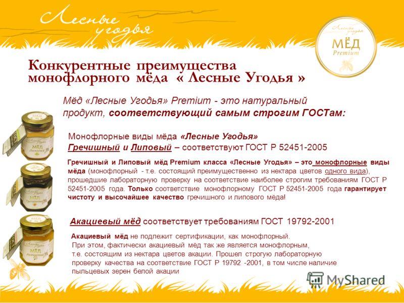 Конкурентные преимущества монофлорного мёда « Лесные Угодья » Мёд «Лесные Угодья» Premium - это натуральный продукт, соответствующий самым строгим ГОСТам: Монофлорные виды мёда «Лесные Угодья» Гречишный и Липовый – соответствуют ГОСТ Р 52451-2005 Гре