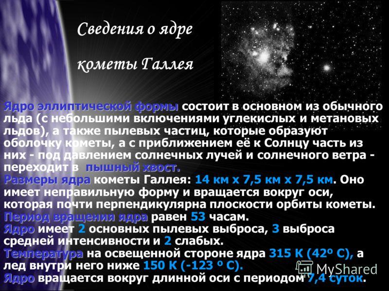Сведения о ядре кометы Галлея Ядро эллиптической формы пышный хвост. Ядро эллиптической формы состоит в основном из обычного льда (с небольшими включениями углекислых и метановых льдов), а также пылевых частиц, которые образуют оболочку кометы, а с п