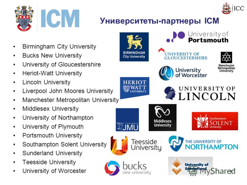 Университеты-партнеры ICM Birmingham City University Bucks New University University of Gloucestershire Heriot-Watt University Lincoln University Liverpool John Moores University Manchester Metropolitan University Middlesex University University of N