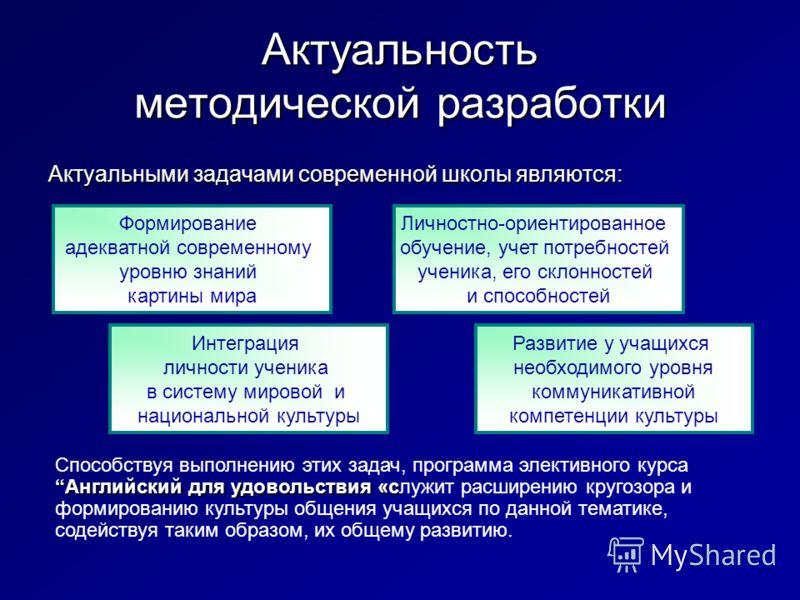 Актуальность методической разработки Актуальными задачами современной школы являются: Интеграция личности ученика в систему мировой и национальной культуры Личностно-ориентированное обучение, учет потребностей ученика, его склонностей и способностей