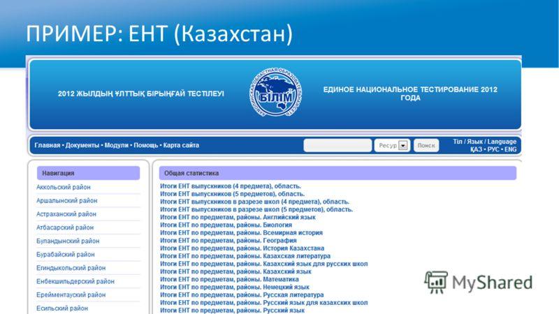 ПРИМЕР: ЕНТ (Казахстан)