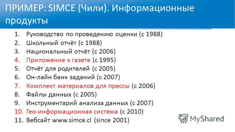 ПРИМЕР: SIMCE (Чили). Информационные продукты 1.Руководство по проведению оценки (с 1988) 2.Школьный отчёт (с 1988) 3.Национальный отчёт (с 2006) 4.Приложение к газете (с 1995) 5.Отчёт для родителей (с 2005) 6.Он-лайн банк заданий (с 2007) 7.Комплект
