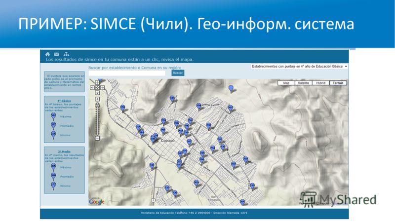 ПРИМЕР: SIMCE (Чили). Гео-информ. система