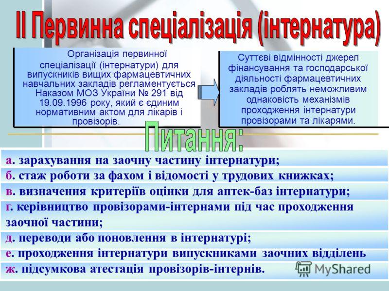 Організація первинної спеціалізації (інтернатури) для випускників вищих фармацевтичних навчальних закладів регламентується Наказом МОЗ України 291 від 19.09.1996 року, який є єдиним нормативним актом для лікарів і провізорів. а. зарахування на заочну