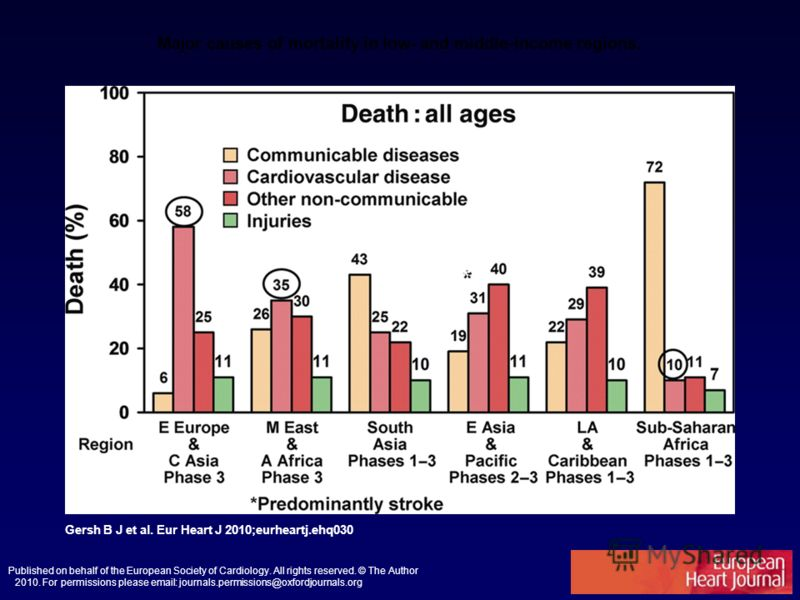 Major causes of mortality in low- and middle-income regions. Gersh B J et al. Eur Heart J 2010;eurheartj.ehq030 Published on behalf of the European Society of Cardiology. All rights reserved. © The Author 2010. For permissions please email: journals.
