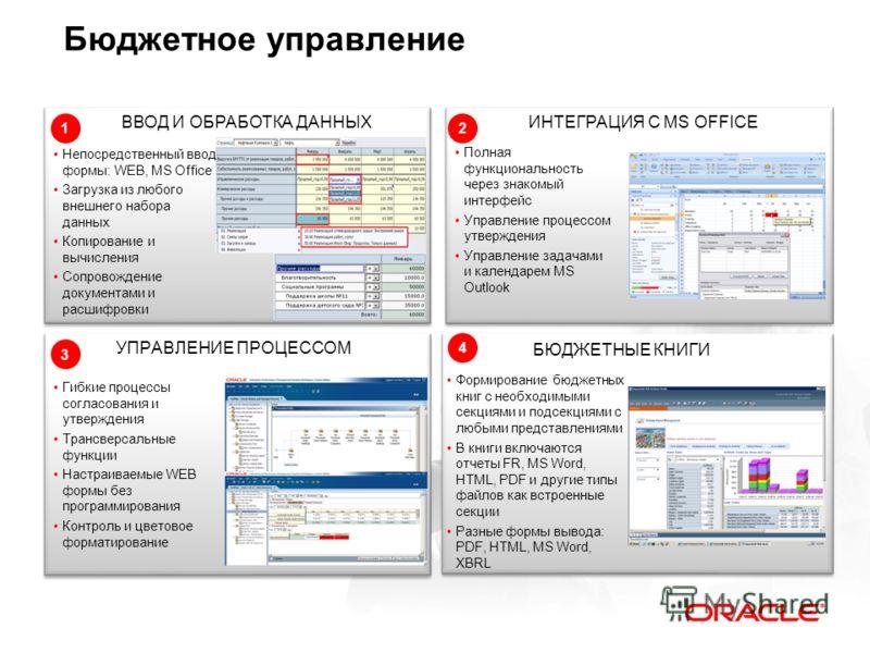 Бюджетное управление УПРАВЛЕНИЕ ПРОЦЕССОМ ВВОД И ОБРАБОТКА ДАННЫХ БЮДЖЕТНЫЕ КНИГИ ИНТЕГРАЦИЯ С MS OFFICE Полная функциональность через знакомый интерфейс Управление процессом утверждения Управление задачами и календарем MS Outlook Непосредственный вв