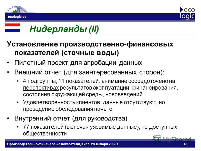 ecologic.de Datum ecologic.de Производственно-финансовые показатели, Киев, 28 января 2005 г.16 Нидерланды (II) Установление производственно-финансовых показателей (сточные воды) Пилотный проект для апробации данных Внешний отчет (для заинтересованных