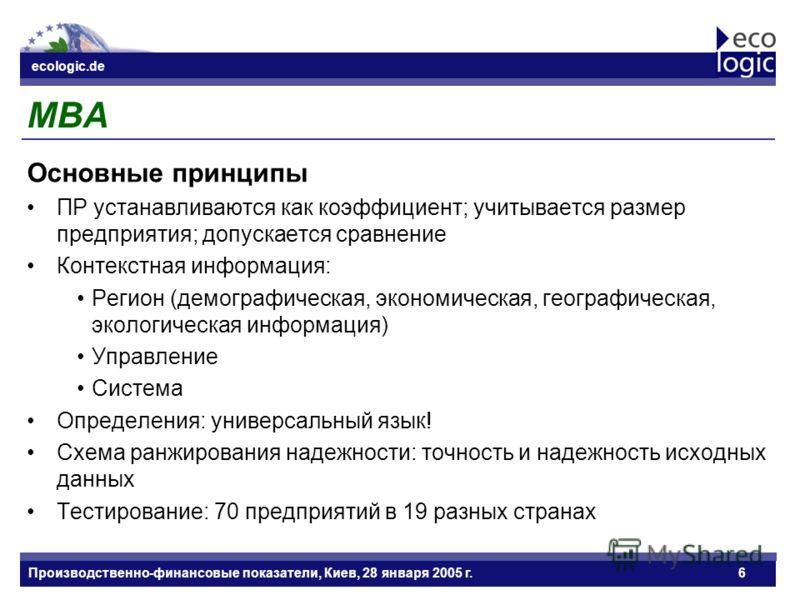 ecologic.de Datum ecologic.de Производственно-финансовые показатели, Киев, 28 января 2005 г.6 MBA Основные принципы ПР устанавливаются как коэффициент; учитывается размер предприятия; допускается сравнение Контекстная информация: Регион (демографичес