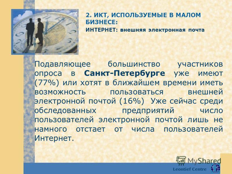 Leontief Centre Подавляющее большинство участников опроса в Санкт-Петербурге уже имеют (77%) или хотят в ближайшем времени иметь возможность пользоваться внешней электронной почтой (16%) Уже сейчас среди обследованных предприятий число пользователей