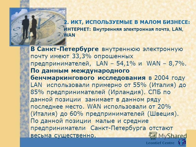 Leontief Centre В Санкт-Петербурге внутреннюю электронную почту имеют 33,3% опрошенных предпринимателей, LAN – 54,1% и WAN – 8,7%. По данным международного бенчмаркингового исследования в 2004 году LAN использовали примерно от 55% (Италия) до 85% пре