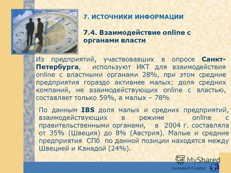 Leontief Centre 7.4. Взаимодействие online с органами власти По данным IBS доля малых и средних предприятий, взаимодействующих в режиме online с правительственными органами, в 2004 г. составляла от 35% (Швеция) до 8% (Австрия). Малые и средние предпр