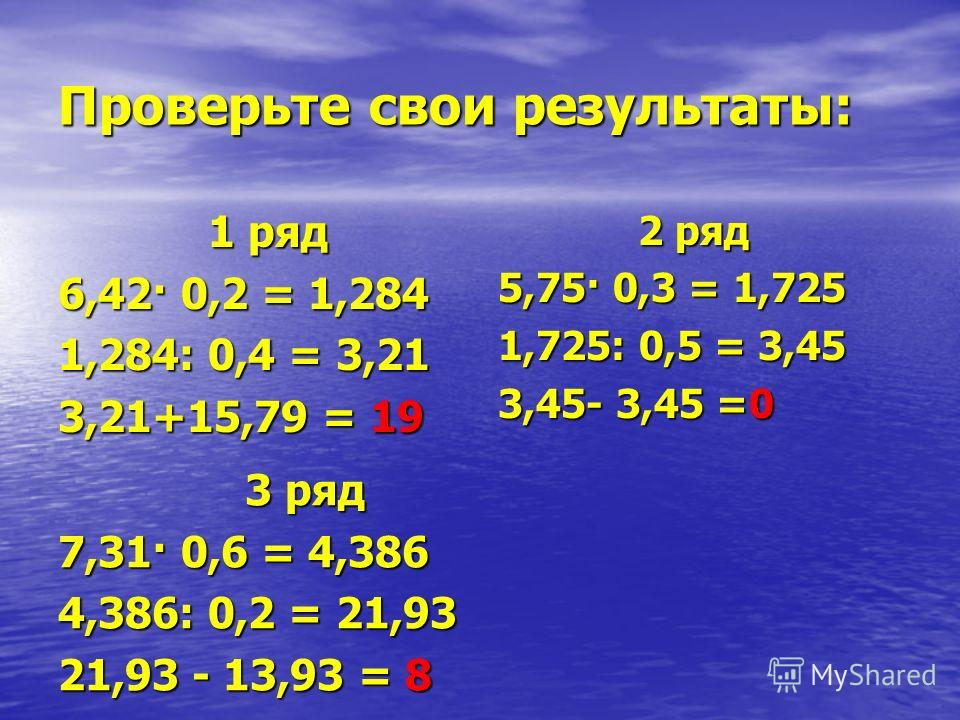 Проверьте свои результаты: 1 ряд 1 ряд 6,42· 0,2 = 1,284 1,284: 0,4 = 3,21 3,21+15,79 = 19 2 ряд 2 ряд 5,75· 0,3 = 1,725 1,725: 0,5 = 3,45 3,45- 3,45 =0 3 ряд 3 ряд 7,31· 0,6 = 4,386 4,386: 0,2 = 21,93 21,93 - 13,93 = 8