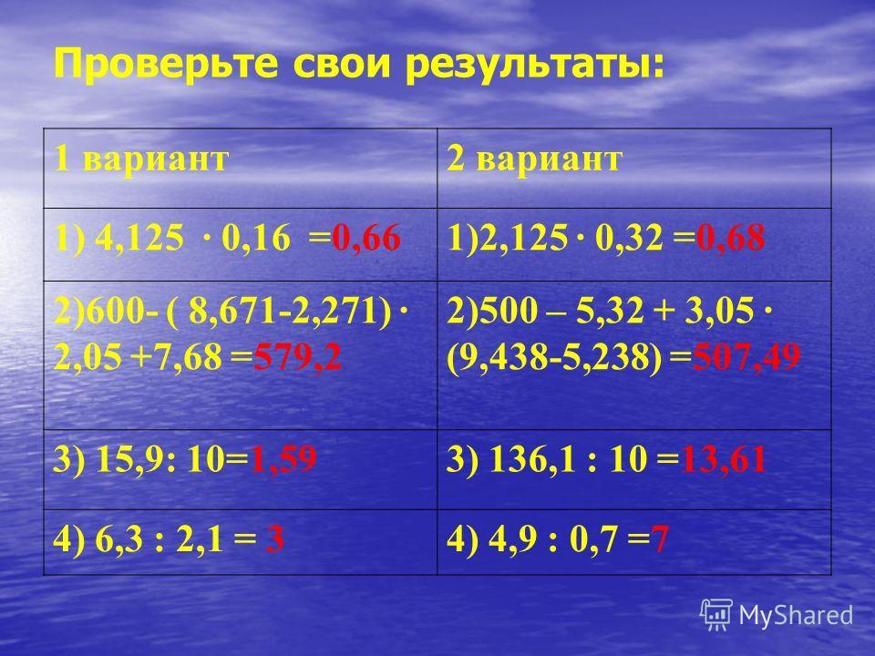 Проверьте свои результаты: 1 вариант 2 вариант 1) 4,125 · 0,16 =0,661)2,125 · 0,32 =0,68 2)600- ( 8,671-2,271) · 2,05 +7,68 =579,2 2)500 – 5,32 + 3,05 · (9,438-5,238) =507,49 3) 15,9: 10=1,593) 136,1 : 10 =13,61 4) 6,3 : 2,1 = 34) 4,9 : 0,7 =7
